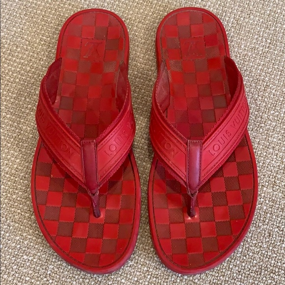 ecf8825732fec Louis Vuitton Other - Louis Vuitton Damier red thongs flip flops sandals